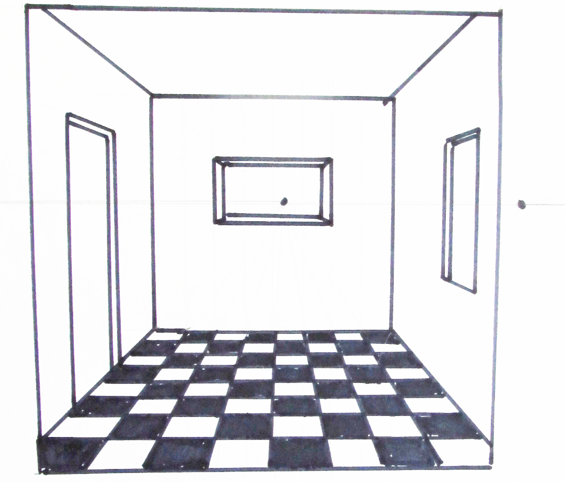 One point perspective interior drawing floor plan 1 for Floor drawing